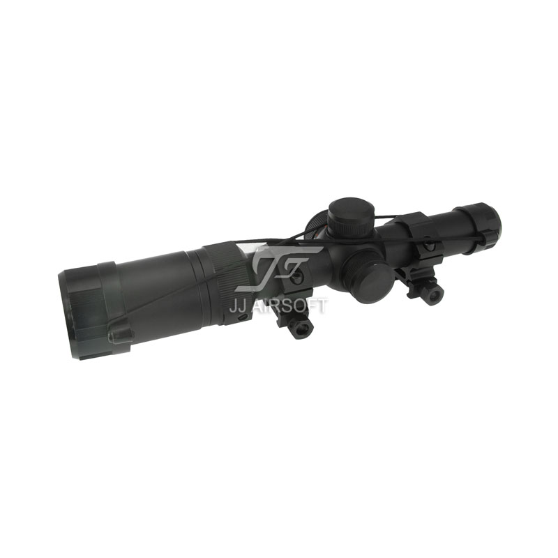 JJ Airsoft 1-4x20 E Red / Green Reticle Long Eye Relief Illumination Rifle Scope (Black) Completely Sealed and Nitrogen Filled jj airsoft 3 5 10x40 e sf wit red green reticle black tan rifle scope mark 4 free shipping
