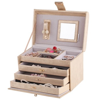 Gold Mirror Jewelry Box 3 Drawers Leather