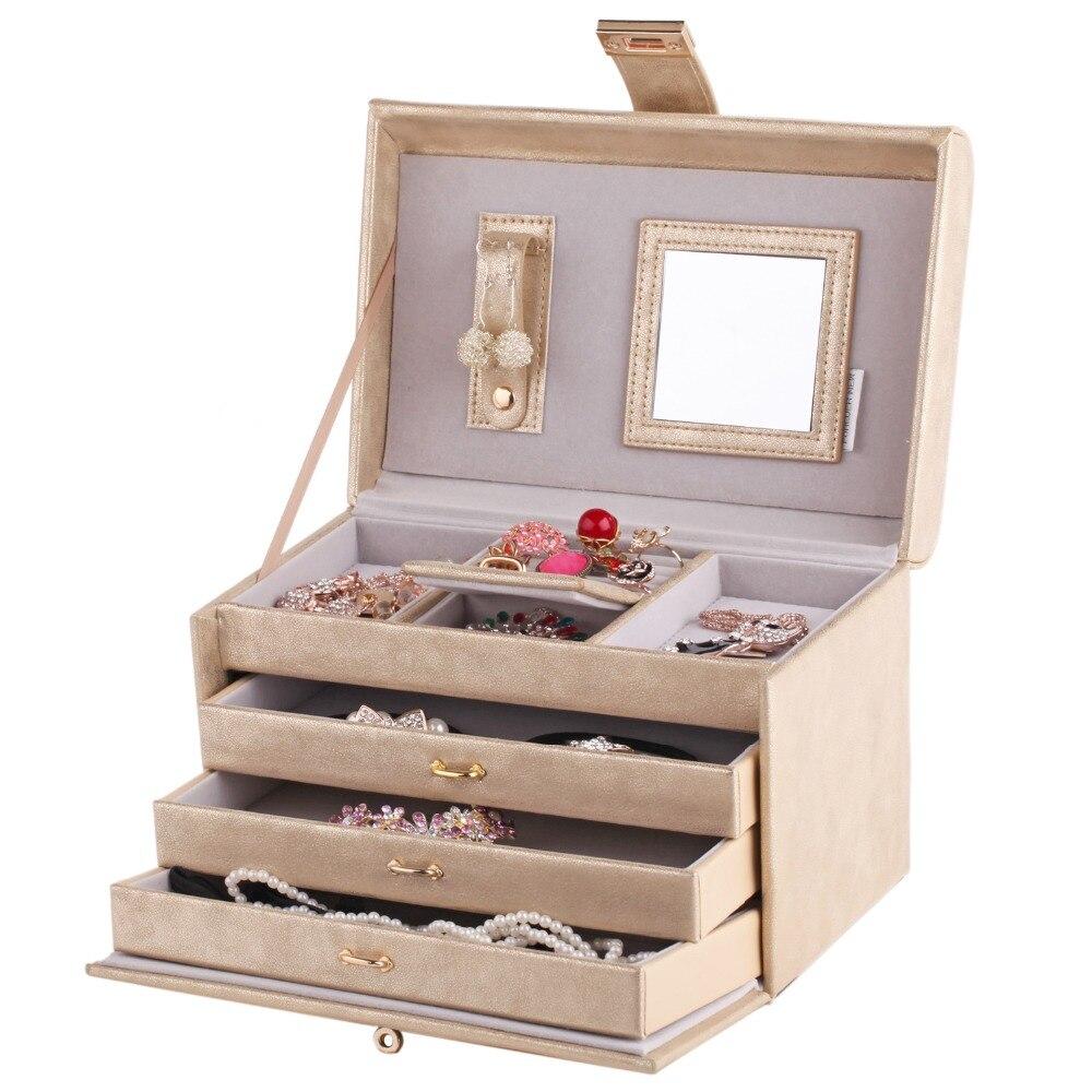 ROWLING Or Miroir Bijoux Boîtes Anneau Colliers Bracelet 3 Tiroirs Cas En Cuir Velours Organisateur Affichage Femmes Fille Cadeau Serrure - 2