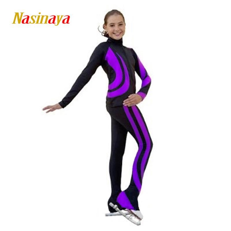 Customized Figure Skating Suits Jacket and Pants Long Trousers for Girl Women Training Patinaje Ice Skating Warm Gymnastics 16