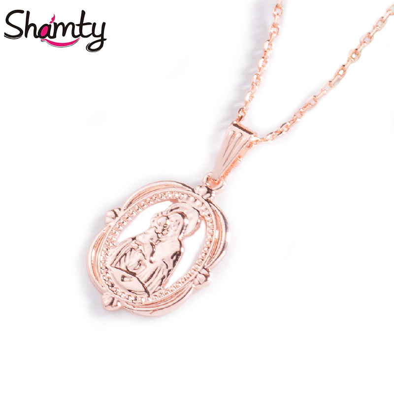 Shamty Blessed Virgin Mary Pendants Necklaces Chain Rose Gol