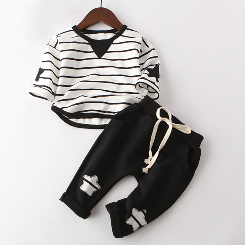 Children Clothes Sets 2017 New Autumn Style Kids Long-Sleeve Striped T-shirt + Solid Color Pants Baby Boys Clothes Suits boys girls suits 2017 new autumn black army green camouflage suit for kids clothes long sleeve tracksuit children s sets 3cs065