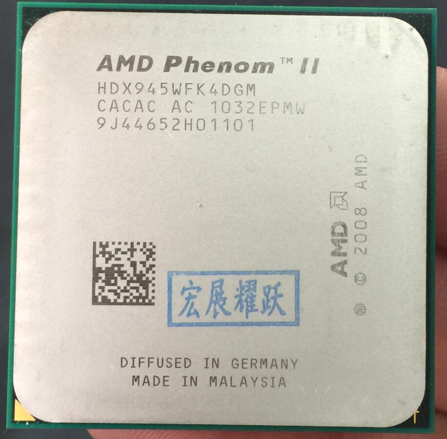 AMD Phenom II X4 945-HDX945WFK4DGM C3 AMD 945 X945 95W 95WクアッドコアAM3 938 CPU 100%正常に動作デスクトッププロセッサパーツケーブル同軸