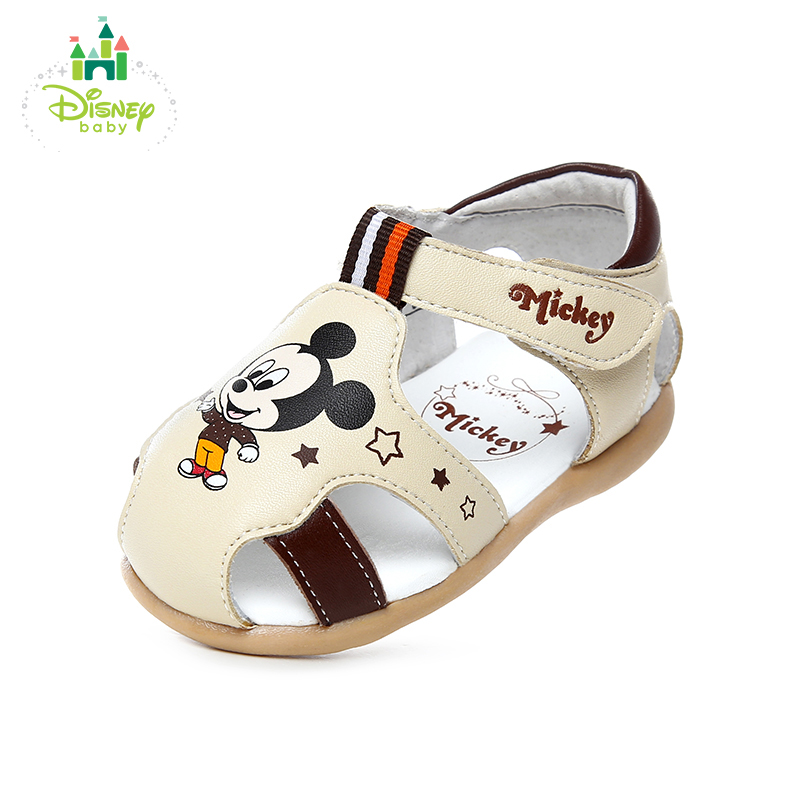 Disney children's shoes 2018 spring new baby shoes sandals 1-3 year old girl baby shoes two colour white and beige young sandals cute girl s sandals with colour block and cartoon pattern design