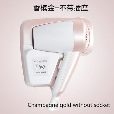 DMWD мощный электрический фен для волос, подвесное настенное крепление для ванной комнаты отеля, Быстросохнущий Горячий Воздуходувка холодного воздуха с розеткой, Фен - Цвет: Gold without socke