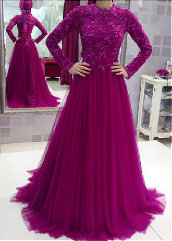 Long Sleeves Vestido De Noiva 2019 Muslim Wedding Dresses A-line Tulle Lace Beaded Boho Dubai Arabic Wedding Gown Bridal Dresses