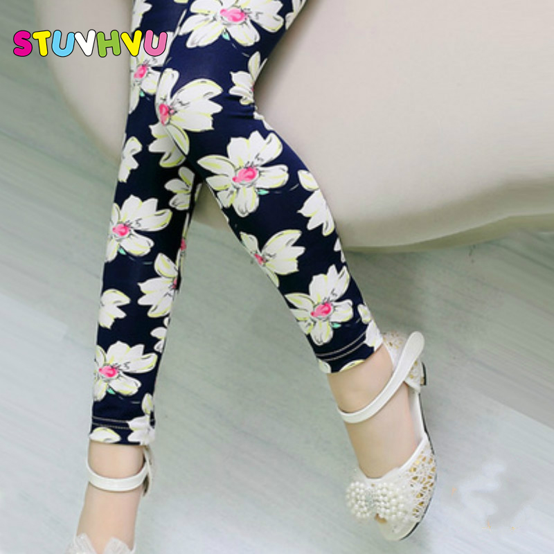 Girls Leggings 2018 Brand Children Leggings Spring Summer Autumn Print Color Skinny Kids Baby Leggings for Girls Pants 18 Colors grey summer girls short leggings triple ruffle panties for children baby elastic waist skinny shorts pants