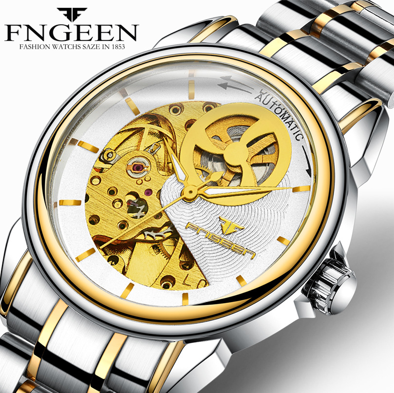 FNGEEN Relogio Automatico Crescent Skeleton Men Mechanical Watches Luminous Male Automatic Watch Clock 8801 horloges mannen fngeen automatic watches waterproof leather rose gold mechanical watch men male clock luminous montre automatique homme relogio