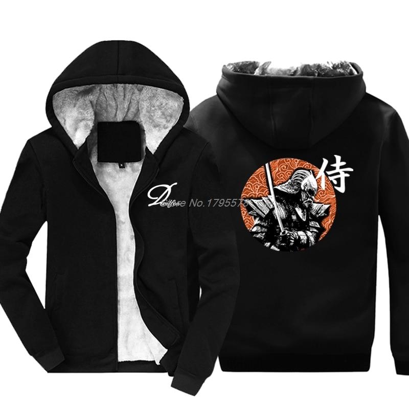 New Fashion Funny Hoodie Samurai Japan Warrior New Fleece Zipper Men Sweatshirt Hip Hop Jacket Coat Harajuku Streetwear Men's Clothing