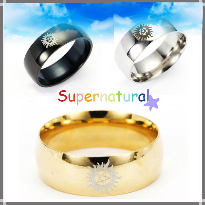 Giancomics Hot Movie Logo Supernatural Alloy Ring Metal Gold Silver Metal Finger Jewelry Components Souvenir Costume Pendants