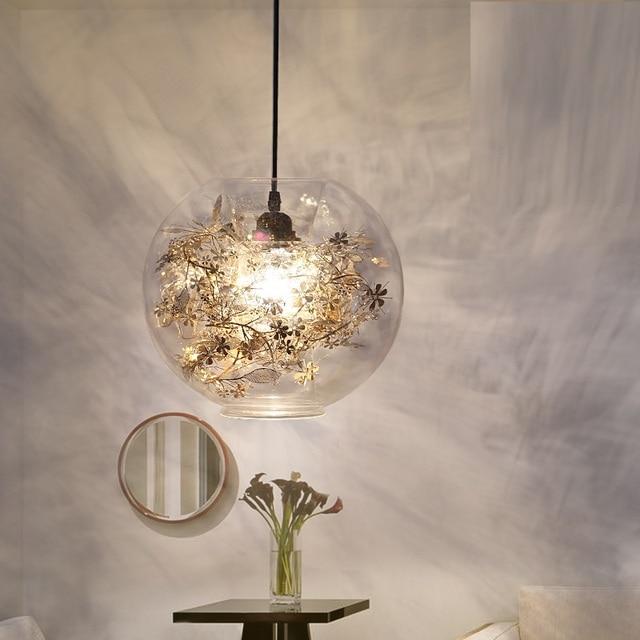 Modern Led Minimalistmodern Tangle Globe Flower Light Pendant Lamp Ac 90 260v Gl Novelty Lighting Fixture For Bar Bedroom