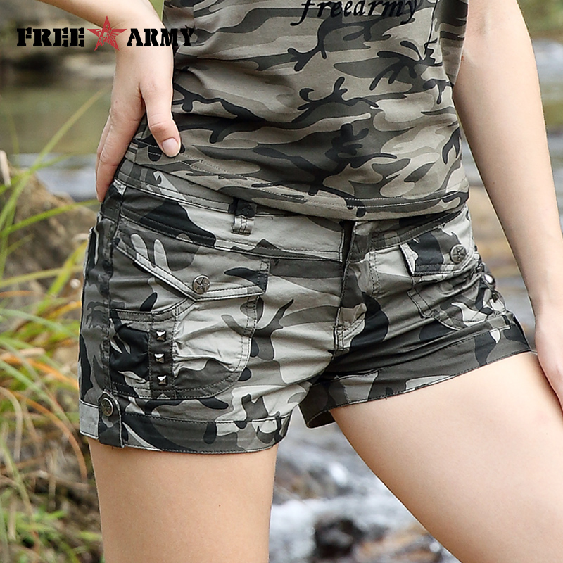 Free Army Brand Fashion   Shorts   2017 Summer New Design Casual Women's   Shorts   Mid Waist Military Camouflage   Shorts   GK-9513B