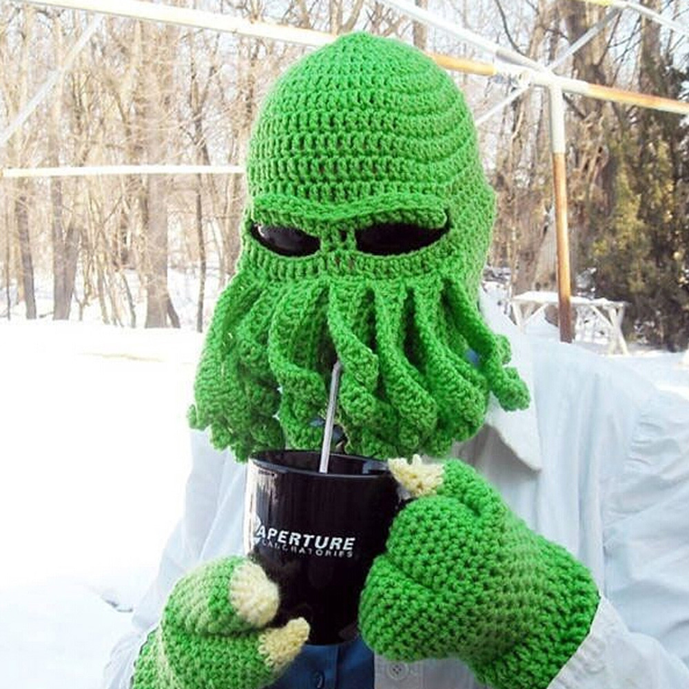 8f82d796740 Fashion Unisex Women Men Winter Warm Knit Crochet Beard Beanie Mustache  Face Mask Squid Cap Warmer Hat-in Men s Skullies   Beanies from Apparel  Accessories ...