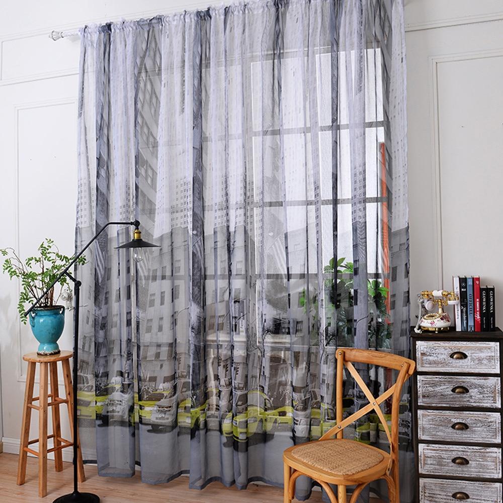 Light Grey Tulle Window Curtain Door Valances Sheer Voile