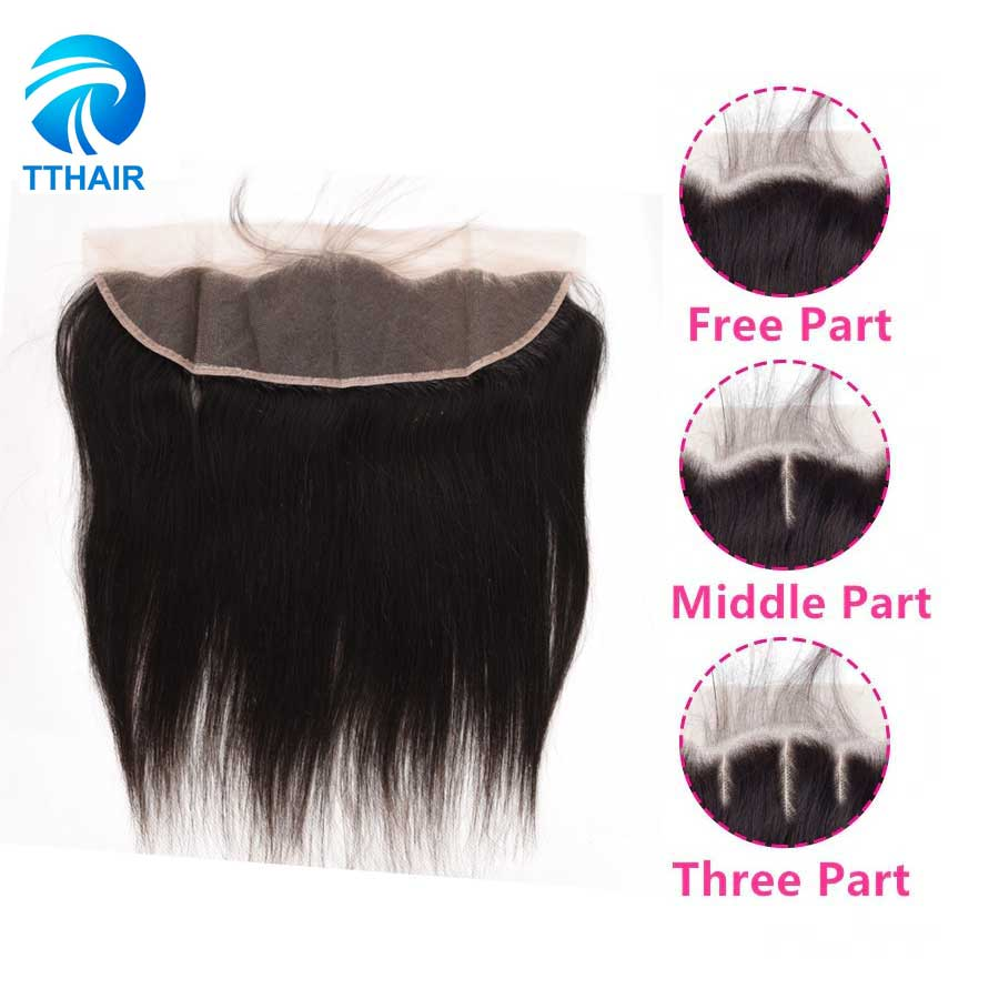 TTHAIR Lace Frontal Closure Remy Brazilian Straight Human Hair Natural Color Pre Plucked With Baby Hair Swiss Lace Closure
