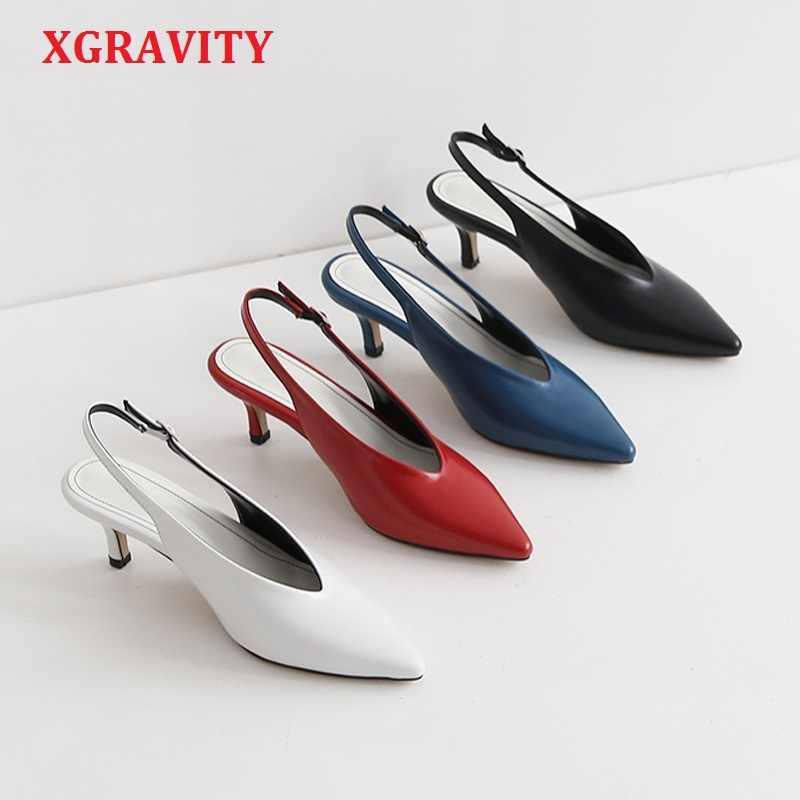 Xgravity Retro Con La Vintage Thiết Kế V Nữ Nhọn Cao Gót Bơm Gợi Cảm Người Phụ Nữ Cao Cấp Thời Trang Mỏng Gót a132