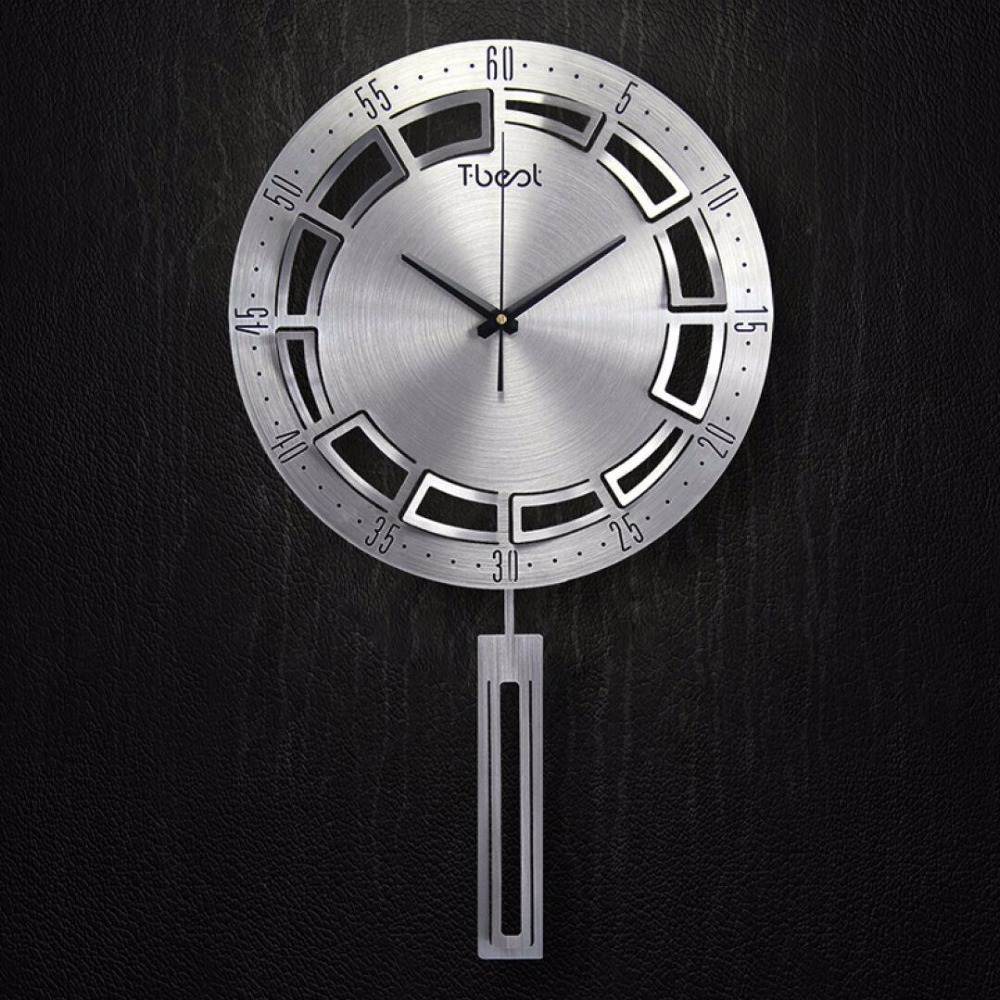 16 inch 3d metal brief living wall clock modern design. Black Bedroom Furniture Sets. Home Design Ideas