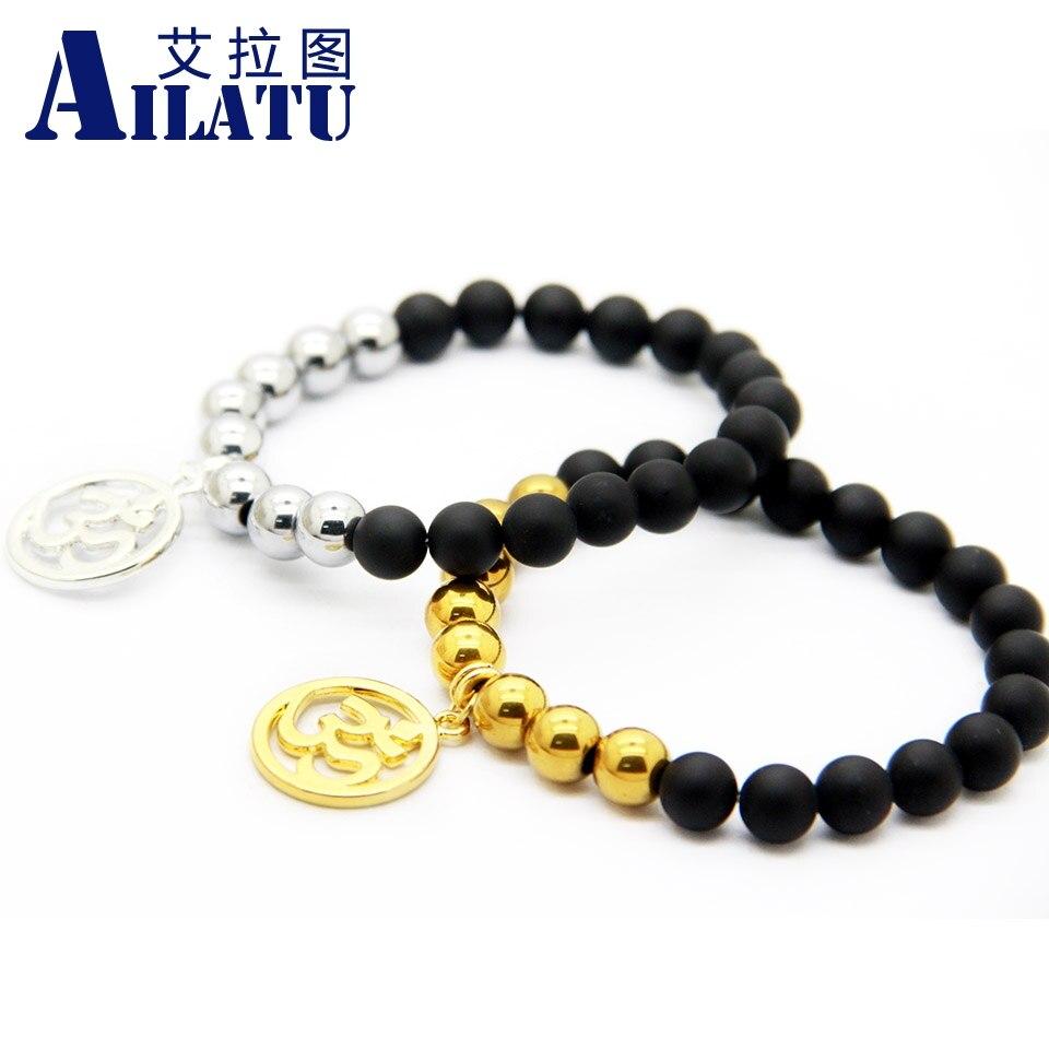 Ailatu Men Jewelry Matte Glass with Hematite Stone Beads Om Charm Yoga Bracelet