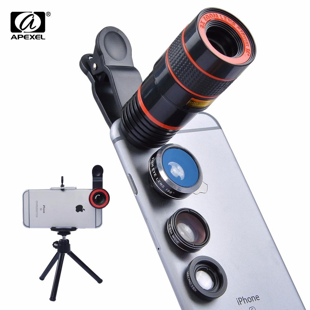 imágenes para Apexel 5in1 universal 8x de zoom de la lente de ojo de pez gran angular macro teléfono con cámara de lente para iphone 6 6s 7 plus samsung s7edge xiaomi 8XDG3