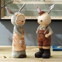 American pastoral style room decor gift wedding gift rabbit couple birthday resin decoration
