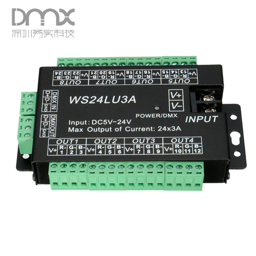 24CH Easy dmx512 decoder,LED dimmer Controller WS24LU3A DC5V-24V,each channel Max 3A,8 groups RGB controller,Iron shell