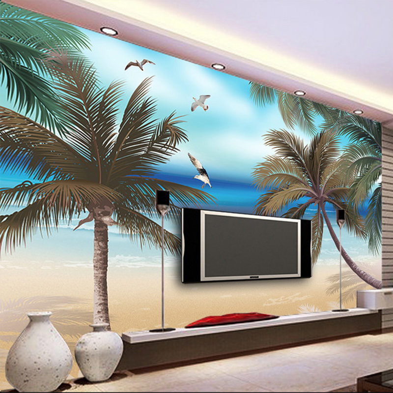 Papel De Parede 3D Wallpaper Custom Coconut Beach Nature Landscape Photo Mural Living Room TV Sofa Cafe Backdrop Wall Painting custom children wallpaper multicolored crayons 3d cartoon mural for living room bedroom hotel backdrop vinyl papel de parede