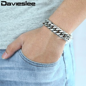 Image 3 - Davieslee 15mm Mens Bracelet Silver Color Curb Cuban Link 316L Stainless Steel Wristband Male Jewelry DLHB289