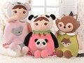 Presente para o bebê 1 pc 50 cm dos desenhos animados metoo panda raposas koala morango doces mochilas de pelúcia crianças criativas bonito bolsa de ombro brinquedo