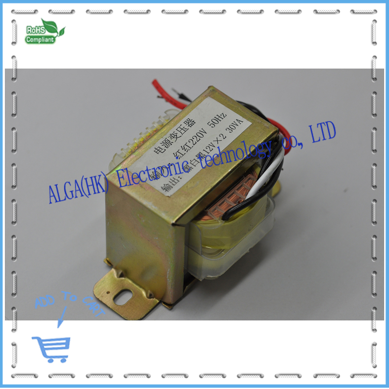 30W High quality to dual 12v/18v red red 220v 50HZ output transformer black white black 12VX2 <font><b>30VA</b></font> transformer. image