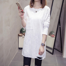 2019 New Fashion Women T-shirt Korean Solid Color Long-sleeved T-shirts Hole Loose Round Neck Shirt Spring Autumn