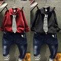 2015 розничная Осень 2-8Y Мода Мальчики Одежда 3 шт. детская одежда красный/черный рубашка + полосатый галстук + джинсовые джинсы детская одежда набор