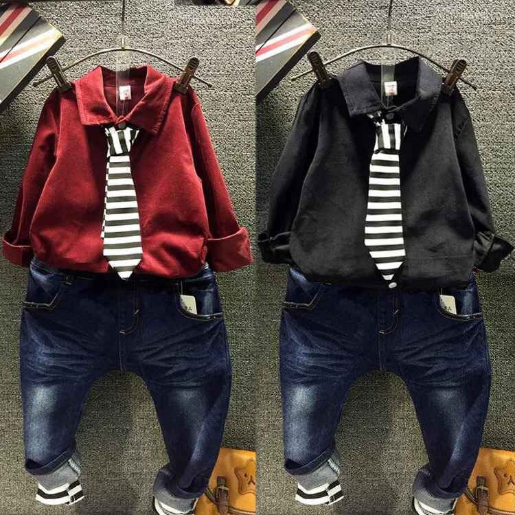 2017 retail Autumn 2-8Y Fashion Boys Clothes 3pcs kids clothes red/black shirt+striped tie+denim jeans children clothing set цена