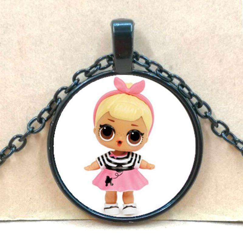 Мультяшное ожерелье с изображением куклы милое детское блестящее платье принцессы куклы стеклянные ожерелья аниме для детей подарок на день рождения - Окраска металла: black 5
