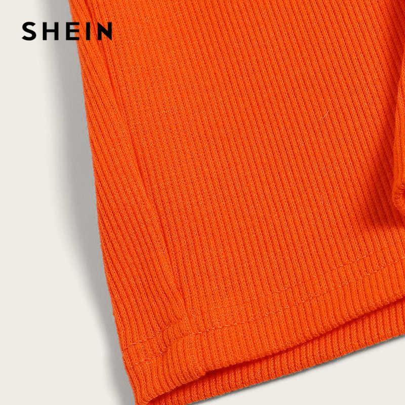 SHEIN Neon Rib-Knit укороченный топ на бретельках и облегающая юбка, комплект из 2 предметов, сексуальный однотонный комплект без рукавов, Женский комплект на бретельках