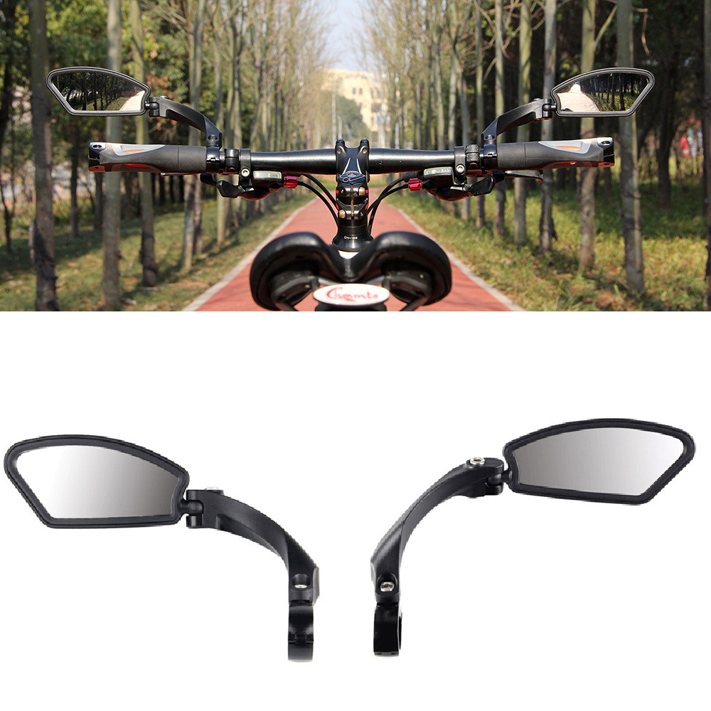 1Pair Bicycle Bike Cycling Handlebar Rear View Rearview Mirror Rectangle Back US