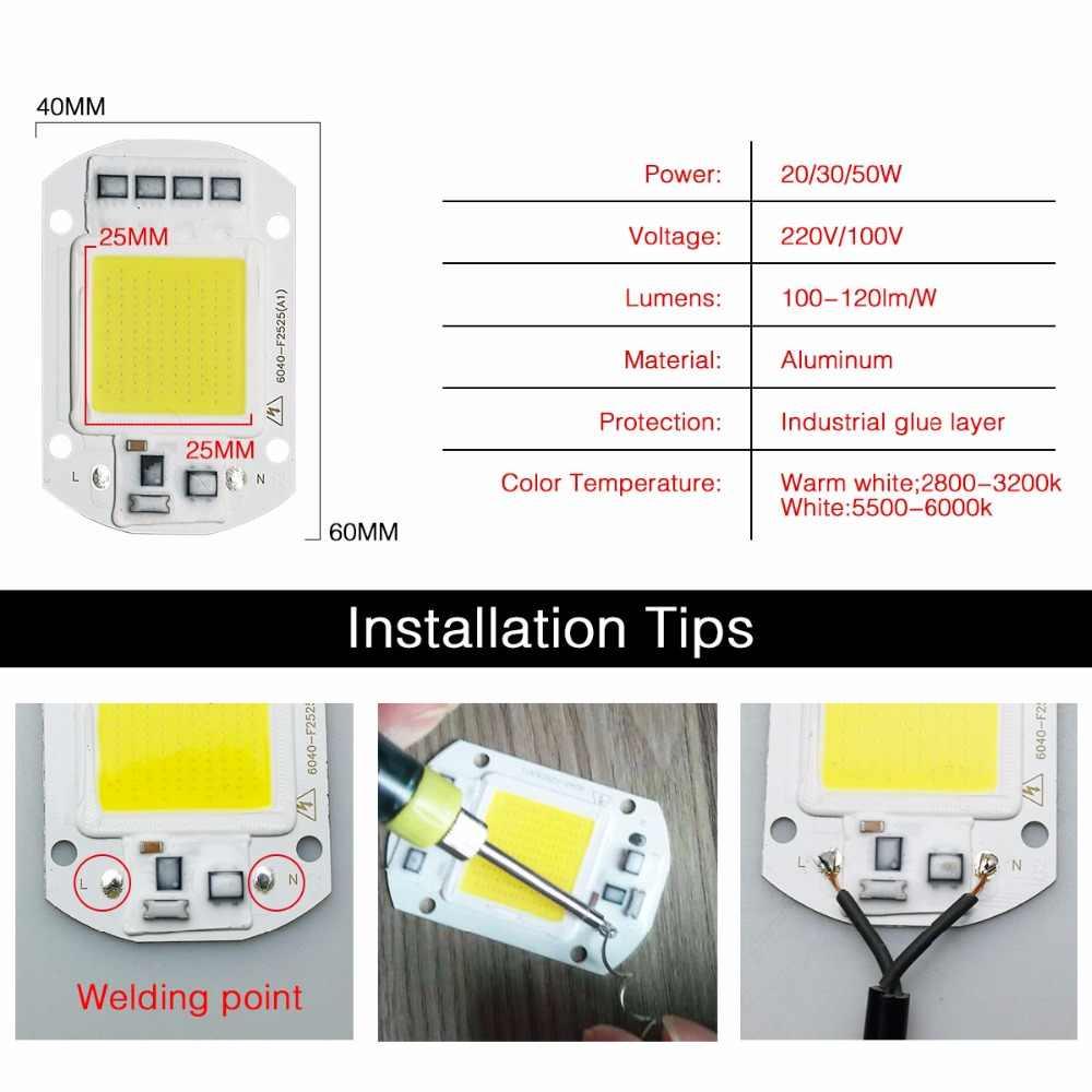10W 20W 30W 50W 70W 100W LED COB Lamp Chip High Power LED Diode Matrix Array 30V 220V LED Spotlight Bulb Floodlight Lampada
