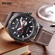 Megir Baogela Luminous Chronograph Leather Quart Watches for Men Mans Fashion Calendar Analogue Round Wristwatch Waterproof