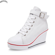 WHOSONG 2019 spring Shoes woman new fashion casual platform leather classic women lace-up white shoes sneakers M315