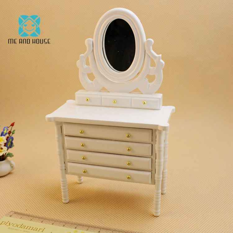 Handmade Dollhouse Miniatures Furniture Princess White Wooden Dresser Drawers 1/12 scale