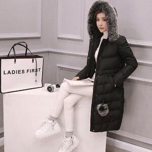 Image 3 - 2020 새로운 겨울 자 켓 여성 긴 소매 후드 아래로 코 튼 코트 무릎 길이 머리 공 패션 핑크 겉옷 파 카 슬림