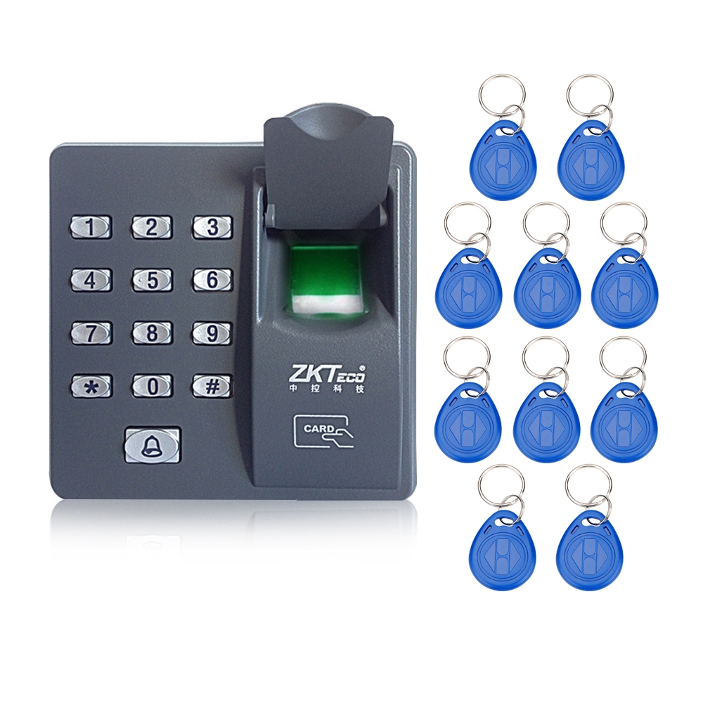 Fingerprint access control machine with keypad fingerprint scanner for RFID door access control system with 10pcs RFID keyfobs biometric face and fingerprint access controller tcp ip zk multibio700 facial time attendance and door security control system