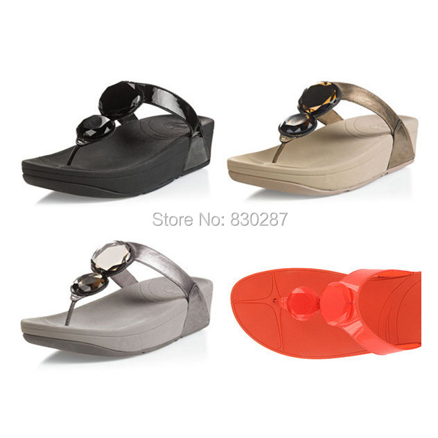 6f757aa5e25afa wholesale cheap women flip flops luna thong sandals diamonds wedges ladies  slides sale Black