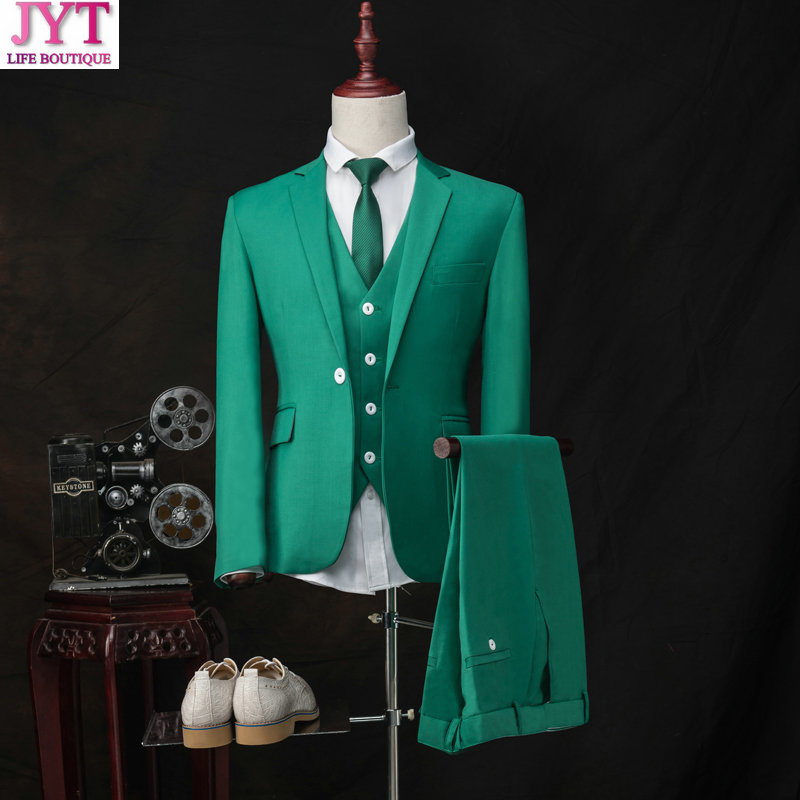 Accept Custom High-end Green Herringbone Retro Men's suits tailor suit Blazer suits for men 3 piece (Jacket+Pants+Vest)
