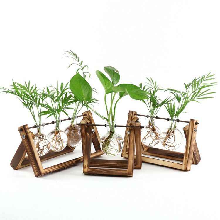 2018 Creative Wooden Stand Glass Terrarium Container Hydroponics Planter Flower Pot Tabletop Vase DIY Home Office Wedding Decor
