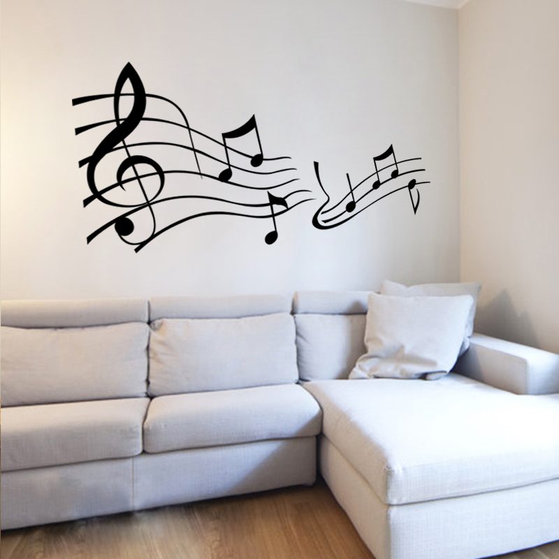 Fashion Music Note Decorative Decals Home Decor Mural Art Wall Sticker Free Shipping China