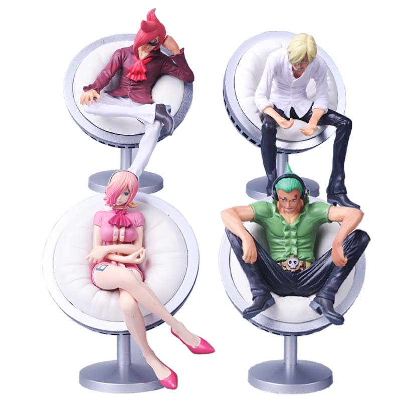 11cm Anime <font><b>One</b></font> <font><b>Piece</b></font> Vinsmoke Family <font><b>Reiju</b></font> Sanji Yonji Sitting Posture PVC Action Figure Toy image