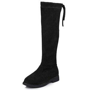 Image 5 - Meisjes laarzen over de knie laarzen kinderen schoenen herfst winter mode meisjes prinses hoge laarzen fluwelen warm kinderen katoen schoenen