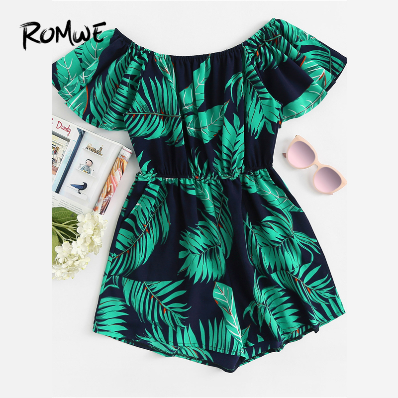 ROMWE Tropical Off Shoulder Leaf Print   Romper   Female Summer Off the Shoulder Short Sleeve High Waist Wide Leg Vacation Playsuit