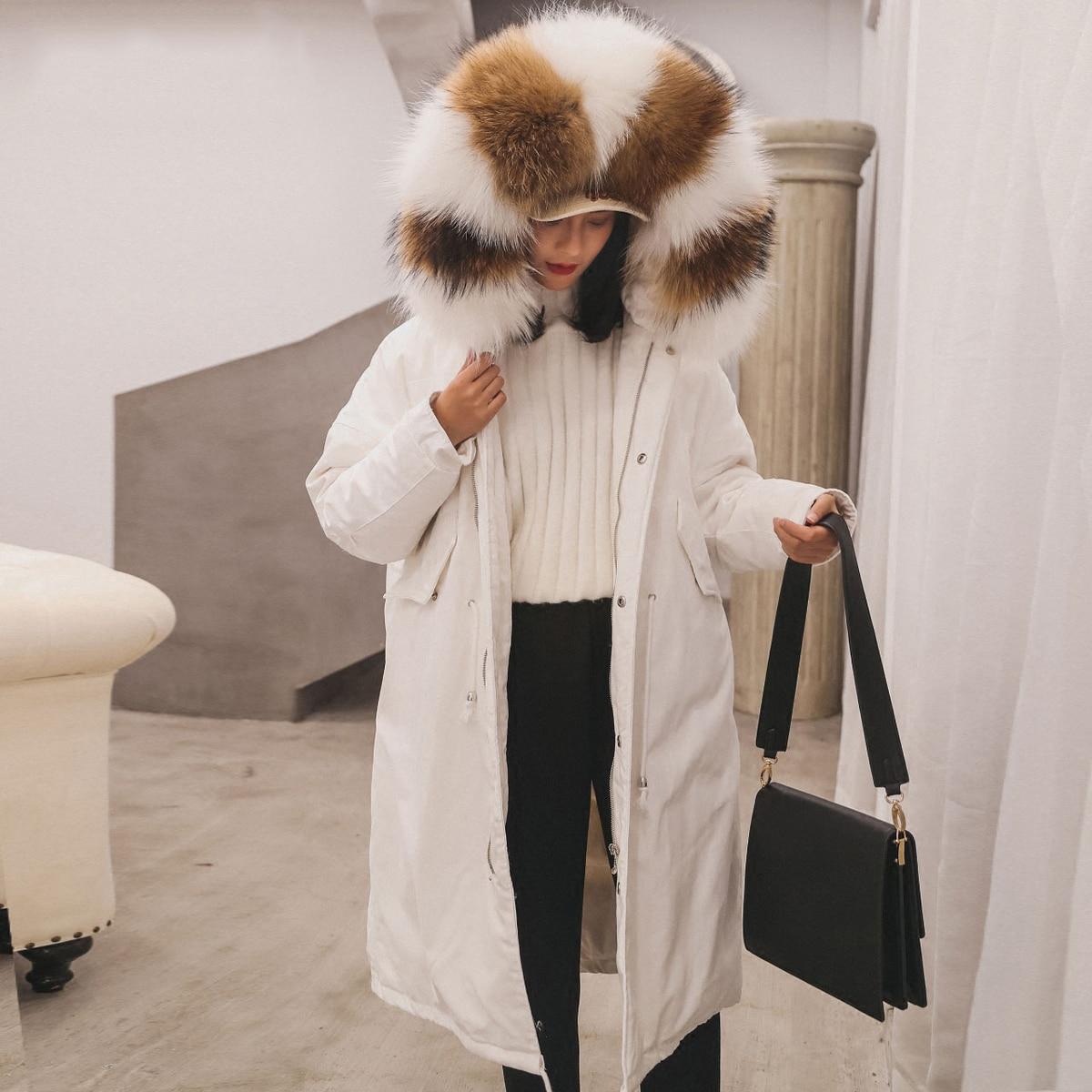 Blanc Outwear Vêtements Manteau Parkas Col Réel Black Épais Duvet Vers De Long Femelle white D'hiver Veste Neige Fourrure Femmes Canard brown Le Chaud Luxe Russe Bas tEwUqFW