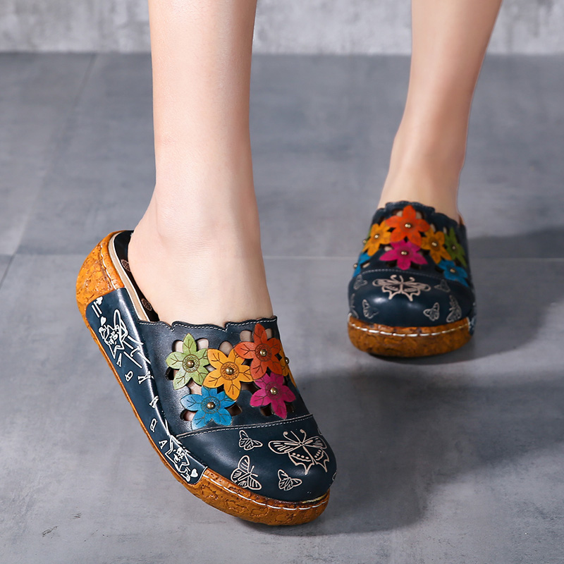 2018 Handmade Women Slippers Genuine Leather Closed Toes Flower Platform Women Shoes Slides